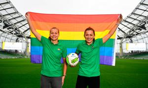 Aviva Pride supporters and Republic of Ireland internationals Ruesha Littlejohn, left, and Katie McCabe. Photo: Sam Barnes/Sportsfile
