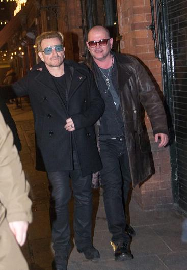 Bono with pal Gavin Friday leaving L'Guelton in the early hours yesterday morning