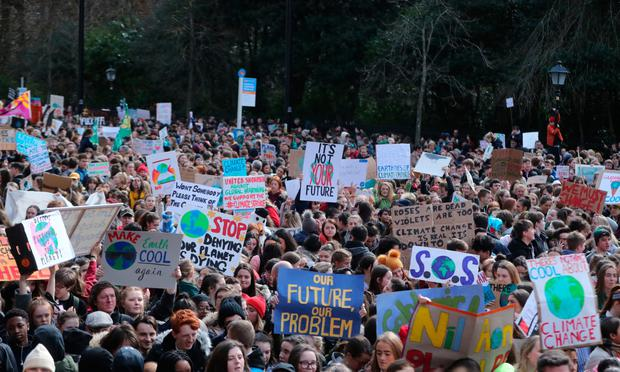 Thousands of students join a protest march campaigning for climate action in Dublin last year