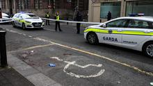 The scene of a stabbing on Cathal Brugha Street in Dublin
