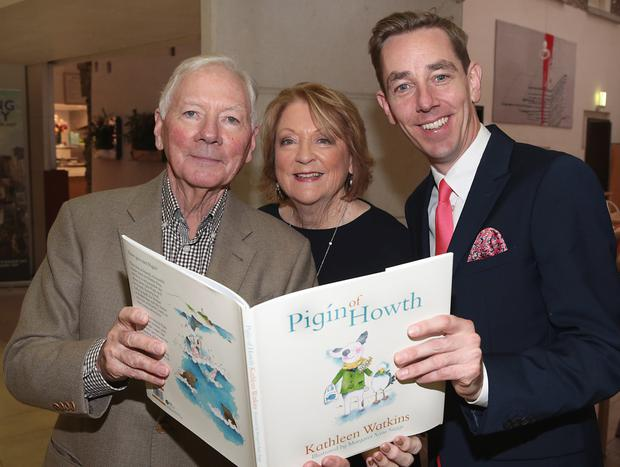 Ryan Tubridy with Gay Byrne and Kathleen Watkins as he launched Kathleen Watkins' new children's book, Pigín of Howth, at The National Gallery of Ireland