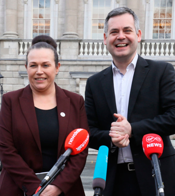 Sinn Fein TDs Louise O'Reilly and Pearse Doherty yesterday