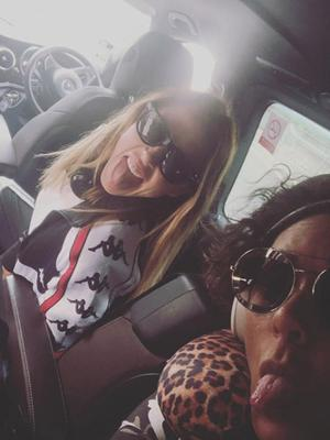 Mel C and Mel B of the Spice Girls on their way to Dublin