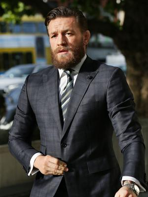 UFC star Conor McGregor outside court in November last year, after pleading guilty to an unrelated assault charge