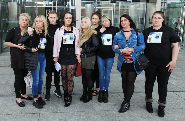 Family and supporters of teenager Daniel McAnaspie outside court