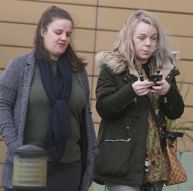 Carley O'Connor (left) and Gemma Reilly outside court