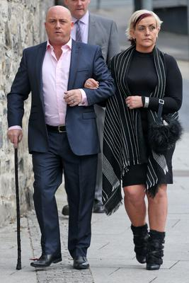 Dave and Audrey Mahon on the way to court prior to his conviction (Collins Dublin)