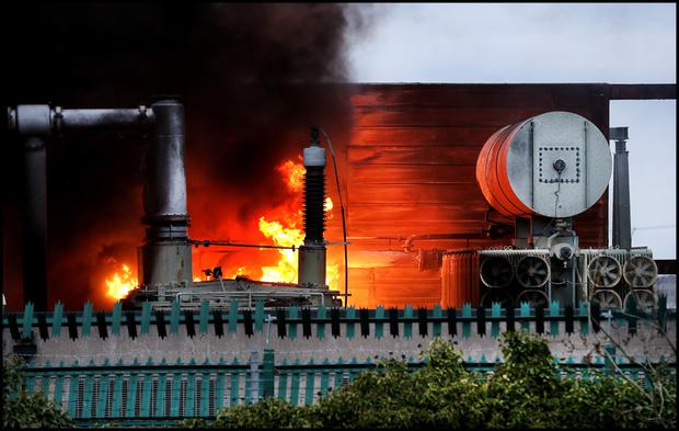 Dramatic scenes from the massive blaze at the ESB substation in Bluebell last night