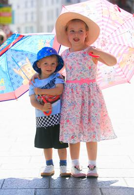Aoife (4) and Connor Dunne (2) on Grafton Street