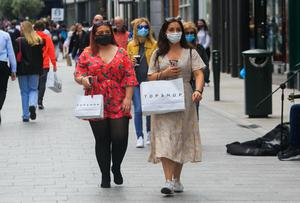 31/08/2020 People wearing face masks on Grafton Street during the COVID-19  Coronavirus pandemic in Dublin's city centre. Photo:Gareth Chaney/Collins