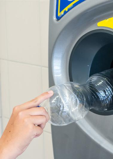 Put a bottle or can in and get deposit back under scheme