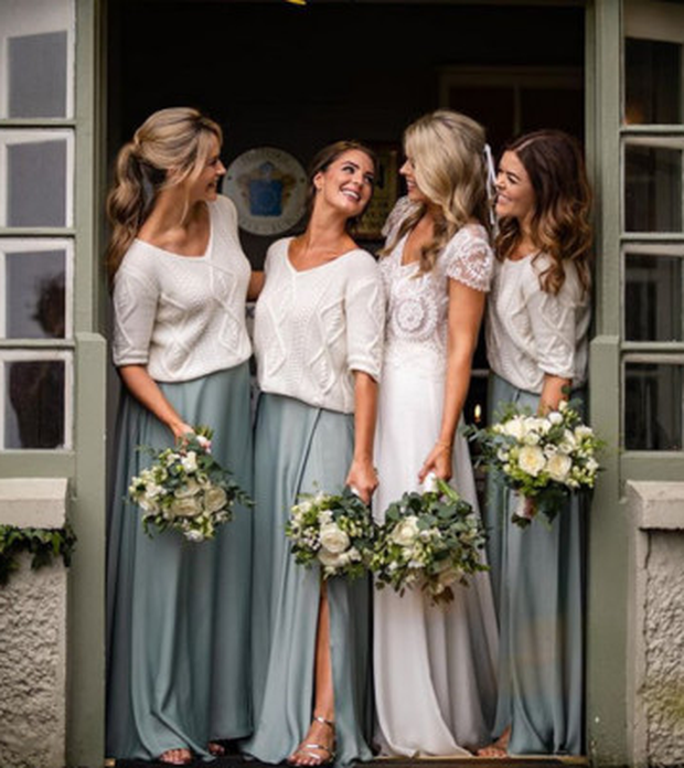 Ailbhe with bridesmaids (from left) Aoibhin, Serena and Doireann during her wedding in Clare