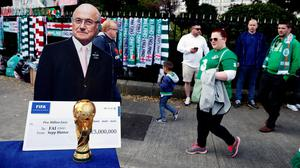 A cut out of former Fifa President Joseph S. Blatter outside the stadium before the match