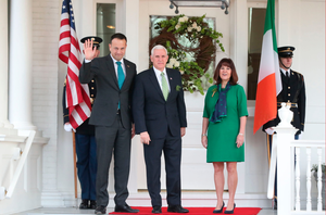 Taoiseach Leo Varadkar with Mike and Karen Pence during his visit to the White House last year