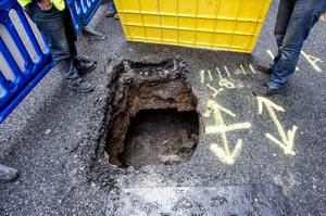 The sink hole and traffic disturbance on Dame St. Dublin 2.