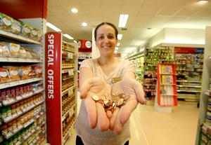 Pictured is Anne Marie Fortune, Manager Petits Super Valu, Wexford Town with 1 cent Coins. Picture: Patrick Browne