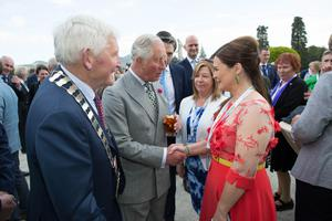 The Prince of Wales and Duchess of Cornwall atPowerscourt House,Co.Wicklow. They were greeted by Pat Vance Cathaoirleach Wicklow County Council and Celebrity Chef Catherine Fulvio