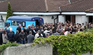 The funeral of Steve Harris (34) - who tried to rescue his brother, father-of-two Alan Harris (45) - was also overcome by the fumes in the incident in a sewer at Drumnigh Wood estate in Portmarnock, Co Dublin on Wednesday afternoon pictured at the Divine Mercy Church, Balgaddy, Lucan this morning