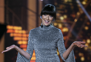 Presenter Jennifer Zamparelli during the show Ten of Dancing With The Stars