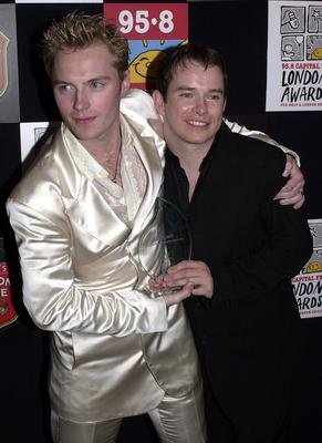 Gately with Boyzone bandmate Ronan Keating in 2000