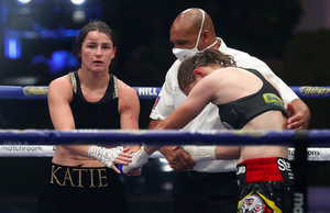 Katie Taylor after beating Delfine Persoon in Essex