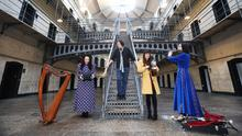 Actor Stephen Rea joined musicians Michelle Mulcahy, Aoife Scott and Louise Mulcahy at Kilmainham Gaol to mark the launch of the Programme for TradFest 2020