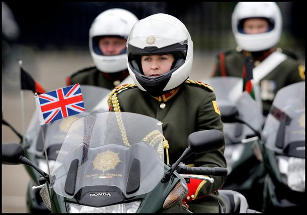 Riders at an escort of honour for Queen Elizabeth in 2011