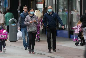 Shoppers wearing masks on Henry Street. Photo: Collins Dublin, Gareth Chaney