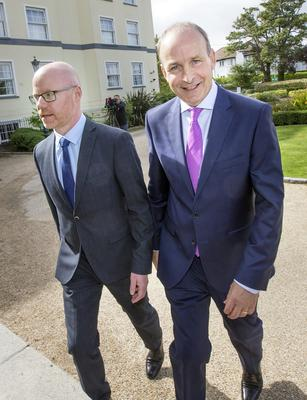 Stephen Donnelly and (left) Micheal Martin.
