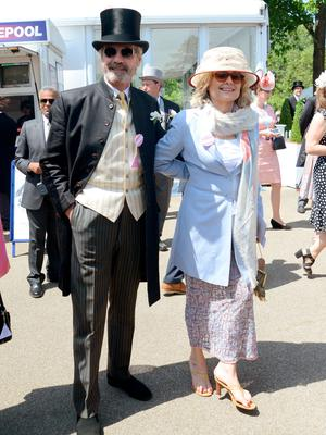 Jeremy Irons and his wife Sinead Cusack during Royal Ascot 2015 at Ascot racecourse on June 18, 2015 in Ascot, England