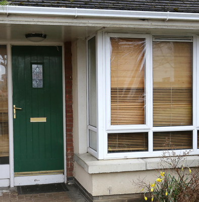 Damaged window at the house in Castleknock where the teenager was attacked