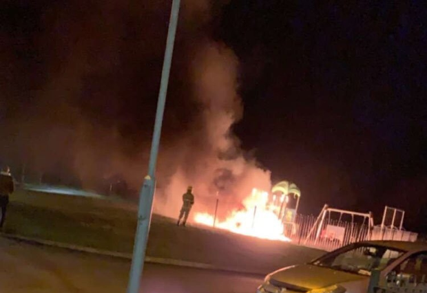 Fire rages at an Applewood playground after arsonists struck