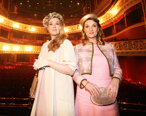 Aisling O'Neill (right) and Fair City colleague Sorcha Furlong in costume for John B Keane's The Chastitute at the Gaiety