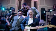 Peter Coonan and Brian Kerr with Hare Squead band members Tony Konstone, Simone Adinga and Jessy Rose at the SARI Trad Against Racism Ireland  benefit gig at St Michans Church in Dublin.