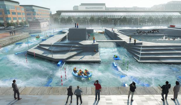 Artist's impression of how the site for the €22m white water course at George's Dock on the North Quays could look