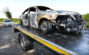 The hitmen's burnt out getaway car found in Finglas (Picture: Steve Humphreys)