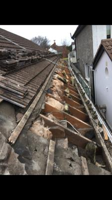 The OAP's damaged roof