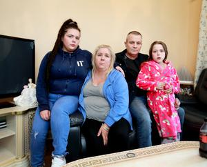 Innocent Teresa Doyle (centre) with her daughters Stephanie and Laura and her partner Noel Small