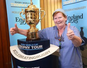 Maire Ryan, who works in Our Lady's Children's Hospital poses with Rugby's most prestigious prize, the Webb Ellis Cup