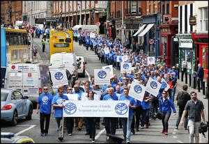 AGSI members march to the Dail in protest over garda pay (INM)