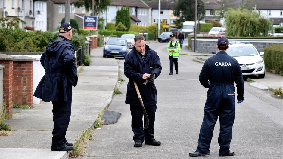 Gardaí near the scene of the assault at O'Rourke Park in Sallynoggin after a party
