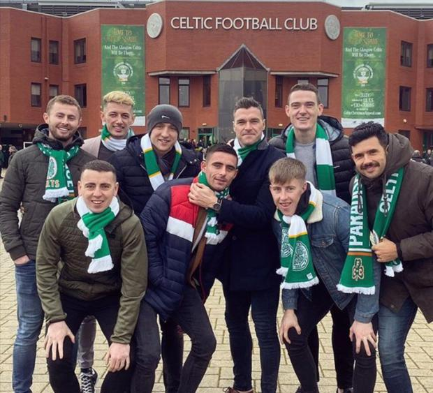 Jack McCaffrey, Evan Comerford, Paddy Small, Paddy Andrews, Brian Fenton and (front l-r) Cormac Costello, Nially Scully, Sean Bugler and Cian O'Sullivan outside Celtic Park