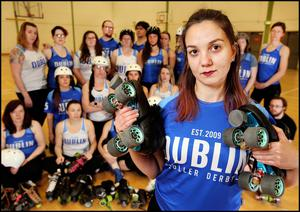 Valentina Nicosia with members of the Dublin Roller Derby league in Inchicore