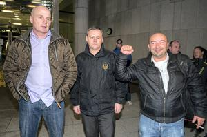 Irish Water protesters (L to R) Damien O'Neill, Paul Moore, Derek Byrne outside court yesterday