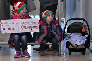 Brea (5), Cillian (3) and baby Roan Mullarkey, from Garristown, wait for their cousins from Adelaide. Picture Colin Keegan.