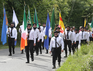 Saoradh members march to Bodenstown cemetery yesterday