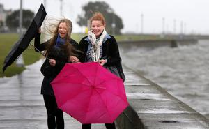 Kerstin and Corina Findeisen from Dusseldorf, battle the weather on the seafront in Clontarf