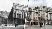 The burned-out shell of Clerys in April 1916 and (right) as it is now