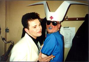 The Diceman with singer Gavin Friday at the Olympia Theatre in the early 90s
