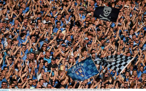 5 September 2015; Dublin supporters on Hill 16. GAA Football All-Ireland Senior Championship Semi-Final Replay, Dublin v Mayo. Croke Park, Dublin. Picture credit: Stephen McCarthy / SPORTSFILE